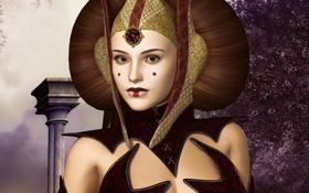 Обои девушка, Star Wars, прическа, королева, рендер, Amidala