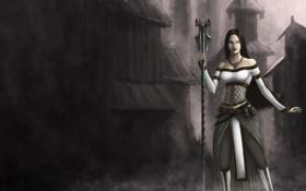Обои девушка, город, туман, арт, посох, Guild Wars 2, Raena Arvalle
