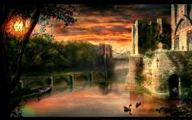 Обои fantasy, закат, мост, замок, озеро