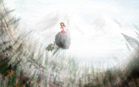 Картинка лес, фантазия, арт, девочка, полёт
