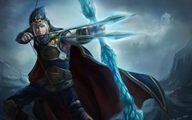 Обои лук, арт, капюшон, мужчина, стрелы, лучник, League of Legends