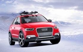 Обои Audi, Красный, Зима, Снег, Машина, Джип, Фары