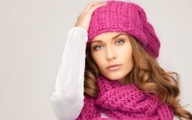 Картинка девушка, шапка, шарф, шатенка, шапочка, голубоглазая, локоны