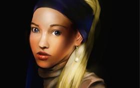 Картинка девушка, лицо, портрет, арт, серьга, платок, сережка