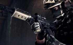 Картинка взгляд, оружие, фон, солдат, экипировка, Battlefield 4