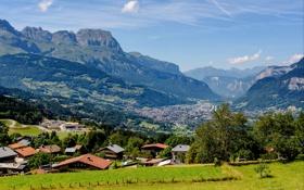 Картинка долина, деревья, дома, Chamonix, Франция, панорама, горы