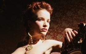 Картинка взгляд, украшения, лицо, модель, интерьер, серьги