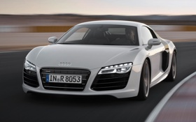 Обои синий, фон, Audi, Ауди, суперкар, гоночный трек, передок