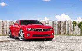 Картинка красный, забор, Chevrolet, Camaro, red, шевроле, мускул кар