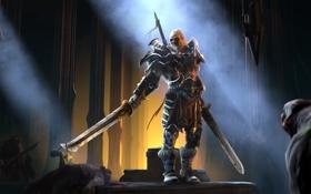 Обои варвар, зал, мечи, diablo 3, замок, солнечные, амулет