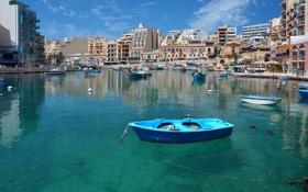 Картинка гавань, дома, небо, лодки, море