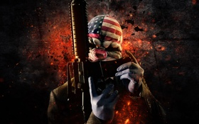 Картинка M4A1, Dallas, Weapon, Money, Mask, Payday: The Heist, Video Game