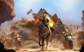 Обои Лошадь, Взрыв, Погоня, Nathan Drake, Перестрелка, Uncharted, Дрейк