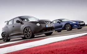 Картинка синий, чёрный, Prototype, Ниссан, суперкар, Nissan, GT-R