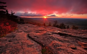 Картинка солнце, лучи, закат, горы, природа, США, Северная Каролина