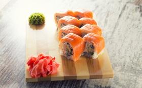 Обои блюдо, роллы, начинка, японская кухня, имбирь, красная рыба