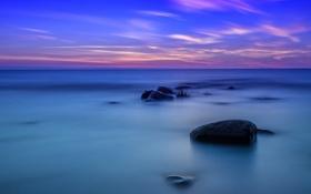 Обои море, небо, облака, камни, отлив, зарево