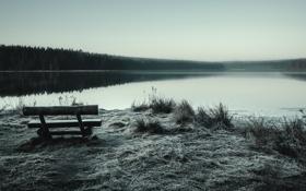 Картинка пейзаж, озеро, скамья