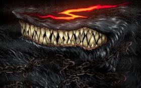 Обои глаза, огонь, волк, шерсть, пасть, клыки, цепи