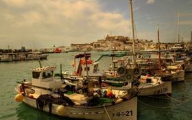 Картинка порт, Испания, гавань, Spain, Ibiza, Balearic Islands, баркасы