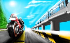 Обои дорога, движение, метро, рисунок, поезд, скорость, мотоцикл
