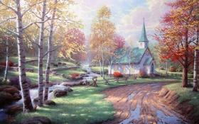 Обои Thomas Kinkade, камни, осень, желтые листья, ручей, береза, лужи