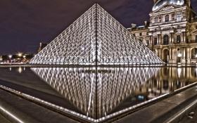Картинка ночь, Paris, музей, город, Louvre, France, пирамида