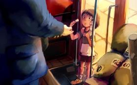 Картинка поезд, аниме, арт, девочка, Хаяо Миядзаки, Тихиро, Spirited Away