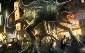 Обои монстр, Зов Ктулху, Говард Филлипс Лавкрафт, огни, город, люди, вывески