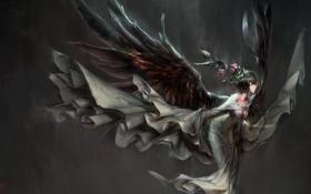 Картинка девушка, цветы, крылья, аниме, арт, hong