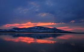 Картинка закат, озеро, гора