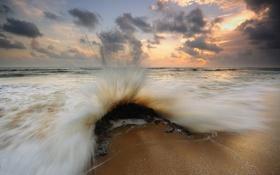 Картинка брызги, закат, берег, прибой, волна, море