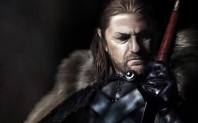 Обои темный фон, меч, арт, мужчина, рукоятка, Game of Thrones, Eddard Stark