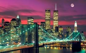 Обои небо, мост, огни, луна, дома, башни, нью-йорк