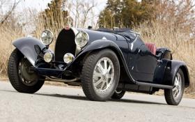 Обои ретро, чёрный, Бугатти, Bugatti, передок, 1930, Type 43