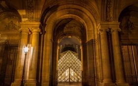 Обои ночь, Франция, Париж, вечер, Лувр, освещение, пирамида