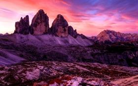 Картинка горы, природа, рассвет, панорама