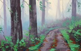 Картинка АРТ, РИСУНОК, ARTSAUS, MISTY REDWOOD FOREST