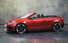 Картинка авто, красный, volkswagen, кабриолет, golf, фольксваген, gti