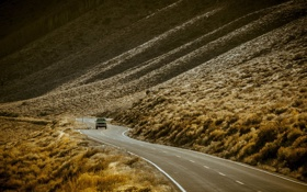 Обои west, america, united states, pickup, roads-curve