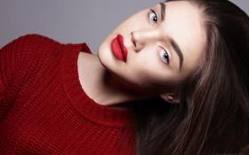 Картинка взгляд, девушка, модель, волосы, помада, брюнетка, красная