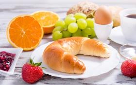 Картинка клубника, джем, яйцо, апельсины, булочки, тарелка, виноград