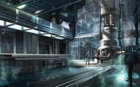 Обои вода, девушка, металл, трубы, завод, сооружение, арт