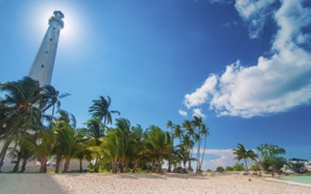 Картинка пляж, пальмы, маяк, Индонезия, Indonesia