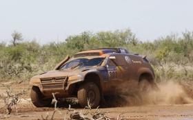Картинка Volkswagen, грязь, кусты, дакар, RaceTouareg 3