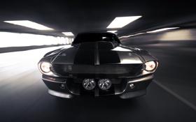 Обои скорость, Ford, Shelby, серебристый, Eleanor, GT 500, мускул кар