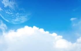 Картинка небо, облака, голубой, луна, планета