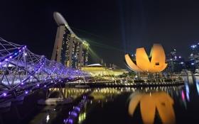 Обои небо, ночь, огни, Азия, Сингапур, отель, Марина Бэй