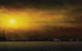 Обои Lawrence Coulson, фигурки, поле, ночь, деревья, арт, свет