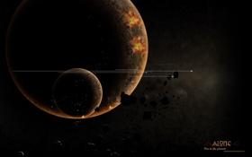 Обои астероиды, обломки, планета, спутник, пламя